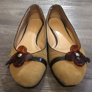 Louis Vuitton Brown Suede Flats